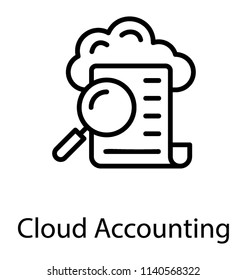 A magnifier and paper bill with the cloud in background, cloud accounting