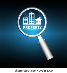Magnifier and property sign with dark blue background.