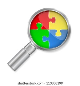 Magnifier with puzzle circle, vector eps10 illustration