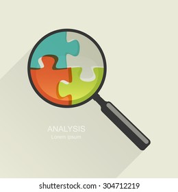 Magnifier with a puzzle. Education or analysis concept