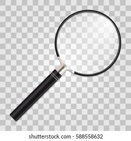 Magnifier. Realistic vector illustration of a transparent background. Search and inspection symbol. Optical zooming tool.