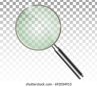Magnifier transparent realistic vector. Magnifying lens.