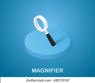 Magnifier vector icon in isometric. Illustration 3d style on blue background