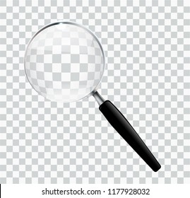 Magnify glass transparent lens, vector illustration