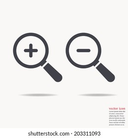 Magnify icon , zoom In and zoom out ,Vector illustration