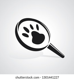 Magnifying glass with animal footprints. Vector illustration