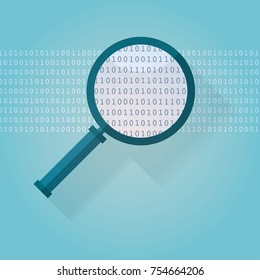Magnifying Glass with Binary Code. Big data search vector illustration