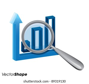 Magnifying glass with business chart, success in business concept, vector illustration