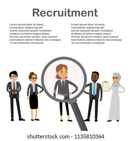 Magnifying glass and candidates for the job,recruitment concept,multicultural characters,place for text,flat vector illustration.