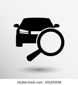 magnifying glass with car selling icon Search deal.