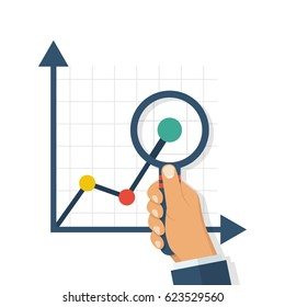 Magnifying glass charts. Magnifier in hand of a businessman. Financial statements. Study of graphs and diagrams. Vector illustration flat design. Isolated on white background. Research report concept.