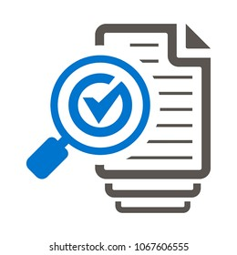 Magnifying Glass Check Mark Like Files Assess Icon Vector. Sheets of Paper Checkmark Loupe Illustration. Assessment Logo. Audit Symbol.