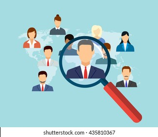 magnifying glass for choosing the right person on word map for international best position. recruitment and job search concept. vector illustration in flat design