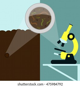 Magnifying glass enlarging earthworm and other insects on the earth. Soil sample being analyzed under the microscope in the laboratory.