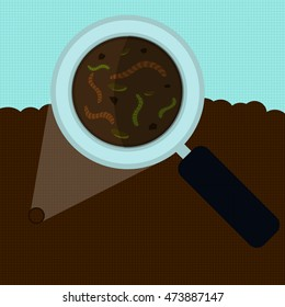 Magnifying glass enlarging the worm and other small body on the earth. Elements with vertical and horizontal lines.