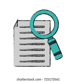 magnifying glass examining document icon image