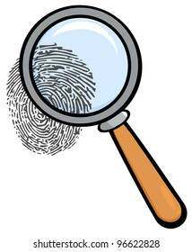Magnifying Glass With Fingerprint. Jpeg version also available in gallery.