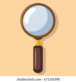 Magnifying glass flat icon isolated on background. Loupe, zoom lens vector logo.