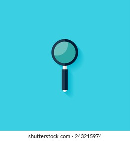 Magnifying glass flat icon. Modern flat icons vector collection with long shadow effect in stylish colors of web design objects. Trendy Flat Style. Isolated on blue background. Flat design. EPS 10.
