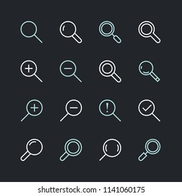 Magnifying glass flat line icons. Search, zoom in and out icon. Thin signs for user interface. Pixel perfect 48x48. Editable Strokes.