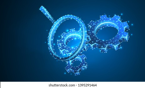 Magnifying glass. Gears technology Analysis. Industry, business solution, engineering concept. Abstract, digital, wireframe, low poly mesh, vector blue neon 3d illustration. Triangle, line, dot, star
