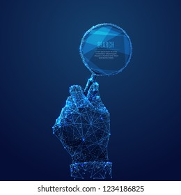A magnifying glass in hand composed of polygons. Low poly vector illustration of a starry sky style. Analysis or Search symbol. Business, science or Internet technology concept.
