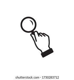 Magnifying Glass in Hand Icon In Trendy  Design Vector Eps 10
