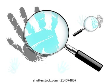 Magnifying glass with hand print and fingerprint, EPS 10