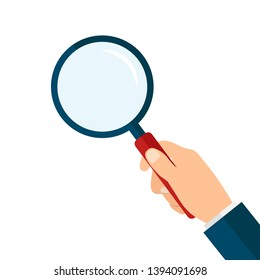 Magnifying glass in hand. Stock Vector Illustration