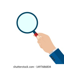 Magnifying glass in hand. Stock Vector Illustration.isolated on white background.10 eps.