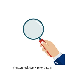 Magnifying glass in hand. Stock Vector Illustration. EPS 10