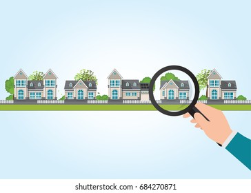 Magnifying glass in human hand with house icon, select to holding a right house, Property For Sale, Real estate, conceptual vector illustration.