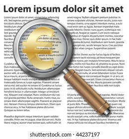 Magnifying glass icon with euro symbol on text background