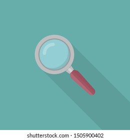 Magnifying glass icon in a flat design with long shadow