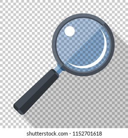 Magnifying glass icon in flat style with long shadow on transparent background