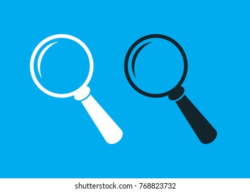 magnifying glass icon. isolated icon , white and black color