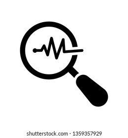 Magnifying glass icon with pulse. Vector illustration. Business concept loupe analysis pictogram. Business Analysis icon. Magnifying glass analyzing data icon