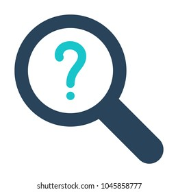 Magnifying glass icon with question mark. Magnifying glass icon and help, how to, info, query symbol. Vector icon
