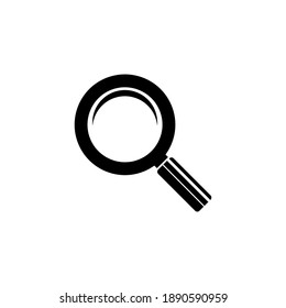 Magnifying glass icon. Search and find symbol. Logo illustration. Solid vector black icon isolated on a white background.