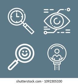 Magnifying glass icon set - outline collection of 4 vector icons such as search, job search
