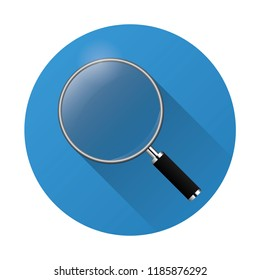 magnifying glass icon vector illustration on blue circle background with shadow
