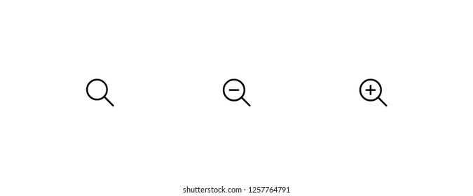 Magnifying glass icon. Zoom in, zoom out vector, web symbol.
