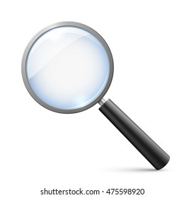 Magnifying glass isolated on white vector illustration. Tool to magnify, research and analysis