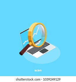 magnifying glass at the laptop screen for data retrieval, isometric image