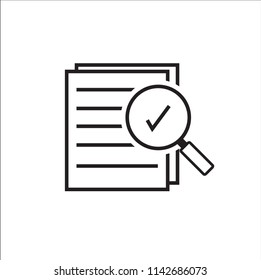 Magnifying glass like check assess. scrutiny plan on white background