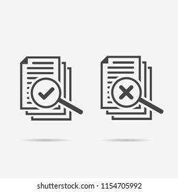 magnifying glass like check assess. scrutiny plan, verify service critique process and annual examination concept. flat style icon flat style isolated on background.