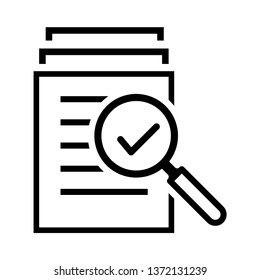 magnifying glass like check assess. scrutiny plan vector icon