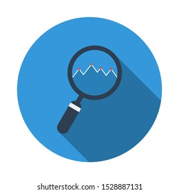 Magnifying Glass With Line Chart Flat Icon