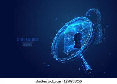 Magnifying glass and lock. Analytics concept. Vector low poly wireframe in the form of starry sky or space, consisting of points, lines, and shapes in the form of stars. Polygonal digital abstract