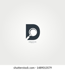 Magnifying glass logo with the concept of the letter D. modern simple and elegant design. suitable for icons and more.